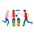 two running sportsmans workout colorful banner vector image