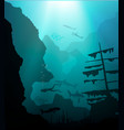 underwater world with scuba diver and ship vector image