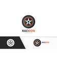 wheel logo combination tire and car symbol vector image vector image