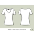 Women short sleeve v-neck t-shirt Template for vector image vector image