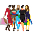 womens with shopping vector image vector image