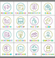 work and business round linear icons templates vector image vector image