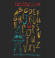 alphabet and numbers hand drawn in vector image