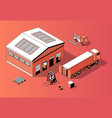 3d isometric warehouse with truck forklift vector image vector image