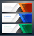 abstract geometric banners in three different vector image vector image