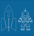 astronaut and spaceship on blueprin vector image