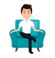 Avatar man cartoon sitting on couch vector image