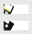 banner with floppy disc icon on grey vector image vector image