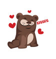 brown bear in love saying kisses on a white vector image vector image