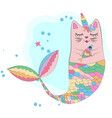cat unicorn with a mermaids tail in the colors of vector image