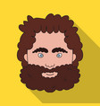 caveman face icon in flate style isolated on white vector image vector image