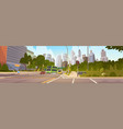 city street skyscraper buildings road view modern vector image