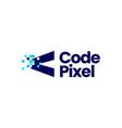 code pixel mark digital 8 bit logo icon vector image
