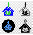 composition of gradiented dotted church people and vector image