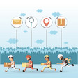 couriers delivery service characters icon vector image vector image