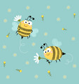 cute bees flying with flowers background vector image vector image