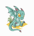 cute blue dragon vector image vector image