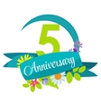 Cute Nature Flower Template 5 Years Anniversary vector image vector image