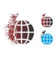dispersed pixel halftone planet satellite launch vector image vector image