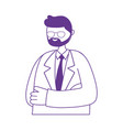doctor professional character male beard with coat vector image