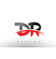 dr d r brush logo letters with red and black vector image