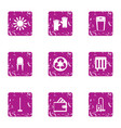 eco cleaning icons set grunge style vector image vector image