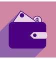 Flat with shadow icon wallet money and coins vector image vector image