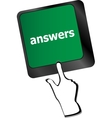 get answers concept on the modern keyboard keys vector image vector image