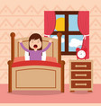 girl in bed waking up in the morning vector image vector image