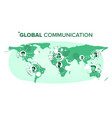 global communication people on world map vector image