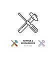 hammer and screwdriver icons repair sign vector image vector image