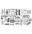 Hand drawn doodle arrow collection isolated vector image