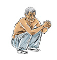 Hand drawn old man on white background grey-haired vector image