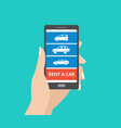 hand holding smartphone with car icons and rent a vector image