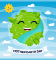 happy earth mascot earth day concept cartoon vector image