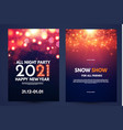 happy new 2021 year flyer design template set vector image vector image