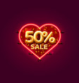 heart sale 50 off ballon number on white vector image vector image