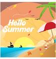 hello summer beach saiboat sunset background vector image
