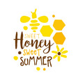 honey sweet summer logo colorful hand drawn vector image vector image