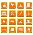 independence day flag icons set orange vector image vector image