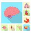 isolated object of body and human icon set of vector image