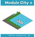 isometric port cargo ship vector image vector image