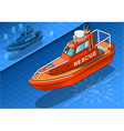 Isometric Rescue Boat Isolated in Front View vector image vector image