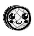 Line kawaii cute happy waffles with honey vector image