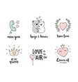 love doodles set hand drawn valentines day quotes vector image vector image