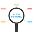 magnifying optical glass with words cloud software vector image vector image