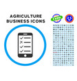 mobile checklist rounded icon with set vector image vector image