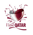 national flag qatar in shape a heart