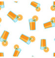 orange fruit juice icon seamless pattern vector image