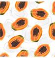 papaya fruits seamless pattern on white vector image vector image